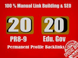 20 PR9 + 20 EDU GOV Backlinks From Authority Domain For SEO Rank