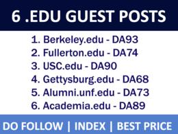 Publish 6 HQ Guest Posts on .EDU Websites - DA 80+, Dofollow