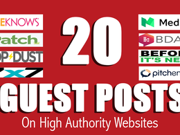 Write & Publish 20+ Unique Guest Posts on High Authorities site
