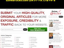 Article on Ezinearticles | Ezinearticles.com (DA91, PA 73)