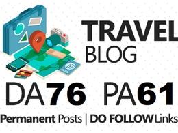 Write a Guest post on travelblog.org DA76 Dofollow backlink