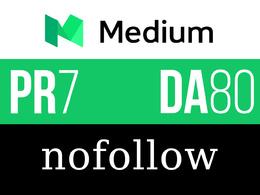 Guest post on medium Medium.com DA80 PA70 all niche Nofollow