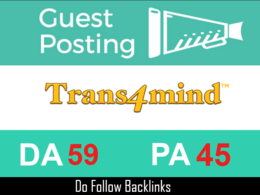 Write and Publish your Posts on Trans4mind.com with 2 Do follow