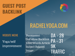 Yoga/self improvement Related Guest post on rachelyoga.com|DA 28