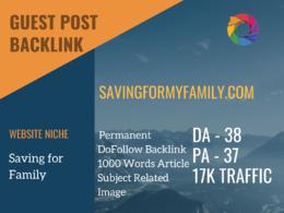 Saving for Family Guest post on savingformyfamily.com |DA 14