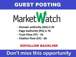 Write & guest post on MARKETWATCH, Marketwatch.com DA 92 , TF 77