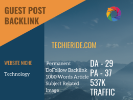 Technology Related Guest post on techieride.com|DA 29