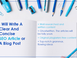 Write A Clear And Concise 500 word SEO Article, Blog Post