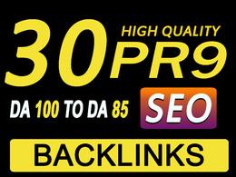 Get Manually Do 30 Pr9 DA 80+ Safe SEO High Authority Backlicks