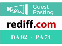 Write a guest blog post at blog Rediff.com DA 92 & Do follow