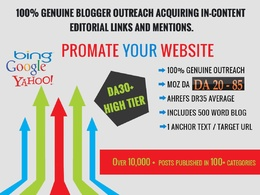 Guest posting via Blogger Outreach & Link Buliding on All Niches