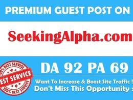 Publish guest post on SeekingAlpha.com DA 92 PA 69