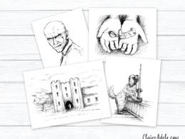 5 x black and white line art illustrations for children's books