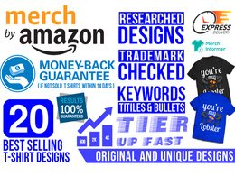 Do Best Selling 20 Merch By Amazon T shirt Designs