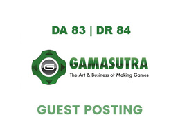 Publish a guest post on Gamasutra DA 83, DR 84