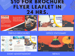 Design Brochure, Leaflet, Flyer,  Menu at $10 in 24 Hours
