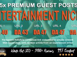 5X High DA 40+ Guest Post *Entertainment* Blogger Outreach