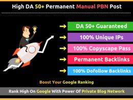 Publish 10 Post Manual On High DA50+ PBN DOFOLLOW Backlinks