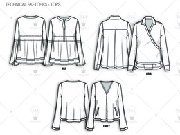 Create fashion flat technical drawing CAD for sample production