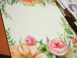 Draw botanical illustration with watercolor