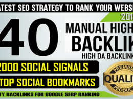 40 High DA Backlinks, 2000+ Social Signals, 10 Top Bookmarking