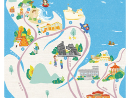 Make vector Travel Map illustrations  (One Side Page)