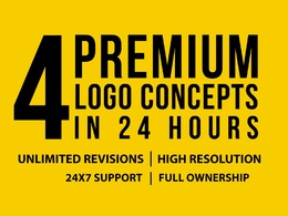 Design 4 unique initial logo + Free Source Files in 24 hours