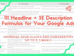 Guide to 111 Headline + 32 Description Formulas for Google Ads