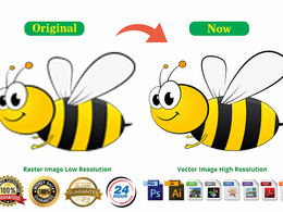 Do vector tracing or redraw any logo image within 24 hours