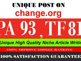 Publish a Guest post on Change. org DA 93 PA 92 Mozrank 7
