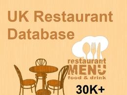 UK restaurant database | 30K + Contacts in excel format