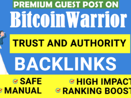 Publish Guest post on BitcoinWarrior DA 46 with Dofollow Links