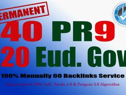 40 PR9 + 20 EDU GOV Backlinks From Authority Domain For SEO Rank