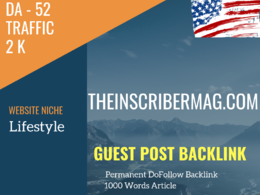 USA Lifestyle Related 2000 Traffic 52 DA Guest post link