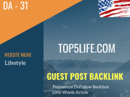 USA Lifestyle Related 31 DA Guest post link