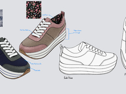 Create beautifully rendered Tech Drawing for Footwear