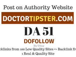 Publish Guest Post on doctortipster.com, DA51