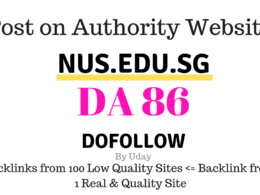 Publish guest post on Nus.edu.sg, DA86, dofollow backlink