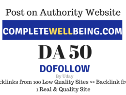 Publish Guest Post on completewellbeing.com, DA50