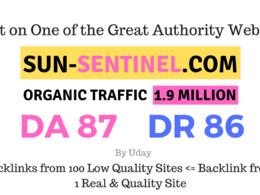Guest Post on Sun sentinel - Sun-sentinel.com DA 87