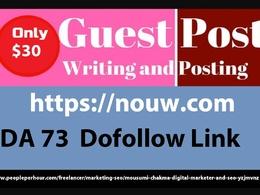 Write and publish live guest post on nouw, nouw.com da73