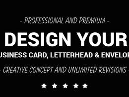 Design your Business card, Letterhead & Envelope
