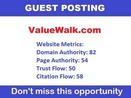 Publish guest post in valuewalk - valuewalk.com DA 82