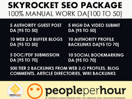 SkyRocket SEO Package DA [99 to 50] - Handmade Manual Backlinks
