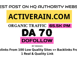 Guest Post on Activerain - Activerain.com DA 70 Dofollow Link