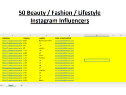 Give a list of 50 beauty/lifestyle/fashion Instagram Influencers