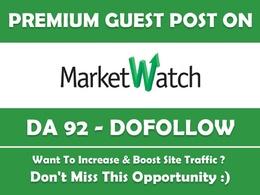 Publish a guest post on Marketwatch, Marketwatch.com DA92,