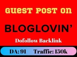 Guest Post On Bloglovin.com - bloglovin Dofollow DA91 Traffic 15