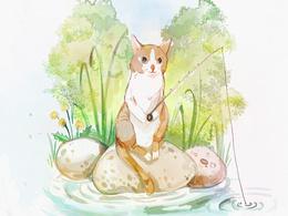 Create watercolour children book illustration