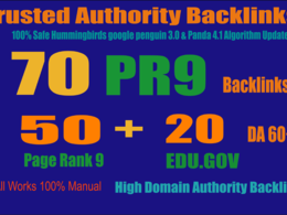 Exclusively-70 Backlinks 50 PR9 +20 EDU/GOV 80+ DA High Quality